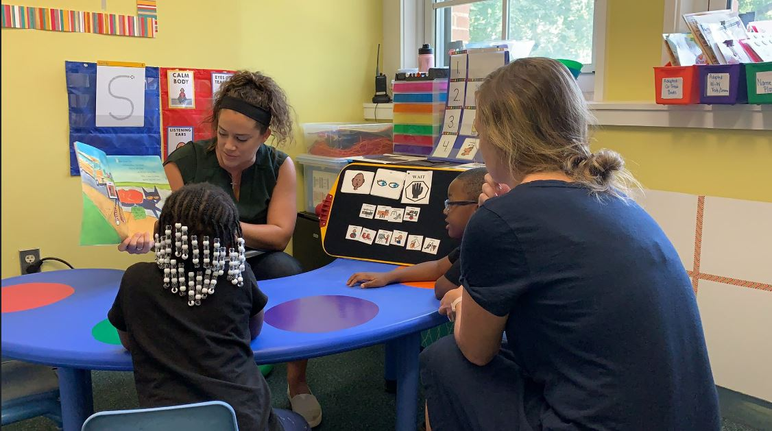 Here you see one of our speech/language pathologist (Ms. Lozier) and early childhood special educator (Ms. Macfeat) co-teach a lesson, your day really brightens up!  #coteaching   #collaboration   #TeamCitySchools