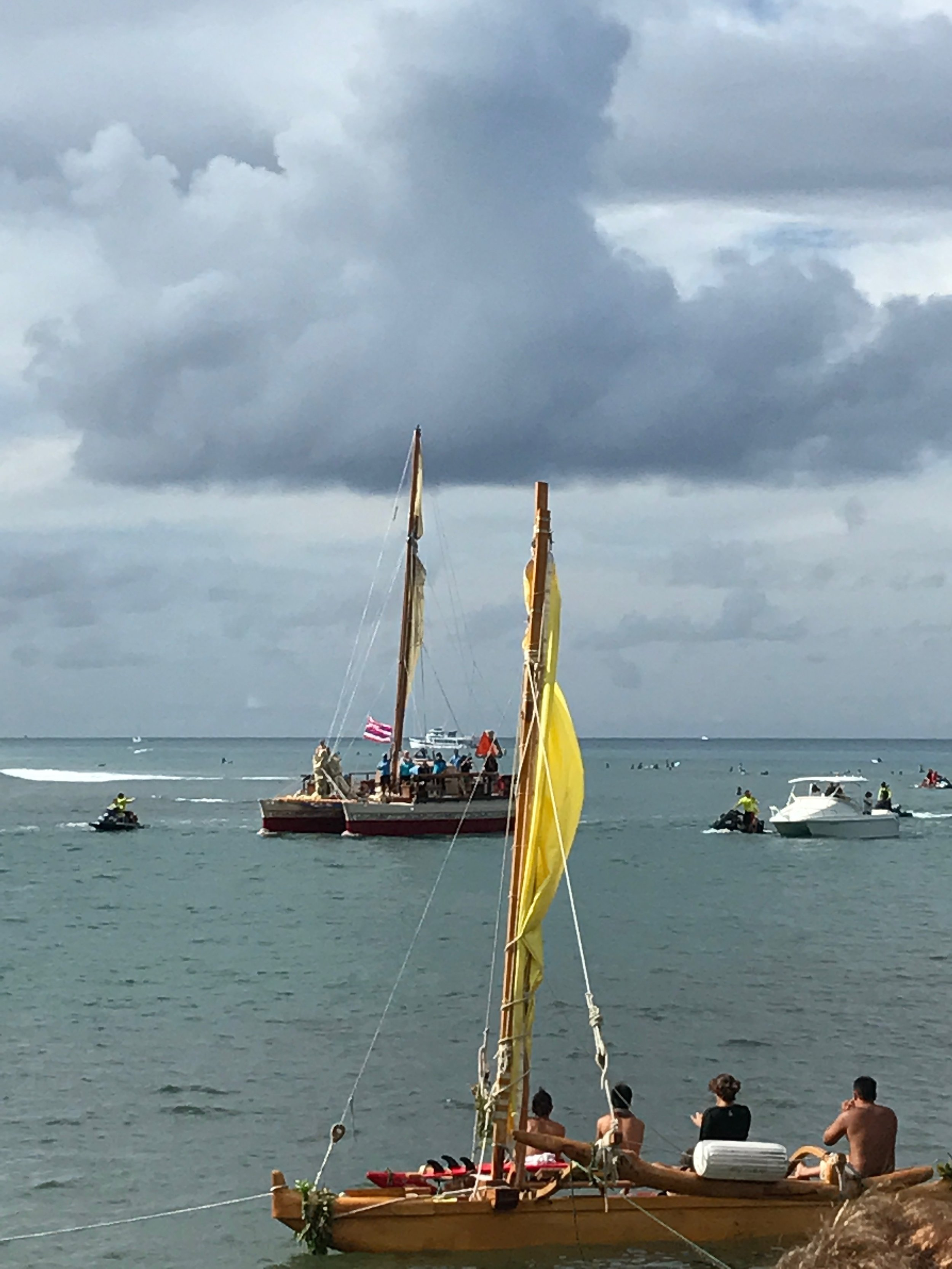 """The Hokule'a canoe, officially a Hawai'i state treasure,returned home to Honolulu's Magic Island, Saturday, June 17, 2017, after being away for over three years. Sewing a """"lei of peace and compassion,"""" the canoe visited 150 ports around the world.  Photo: Myles Cohen, NVS student."""