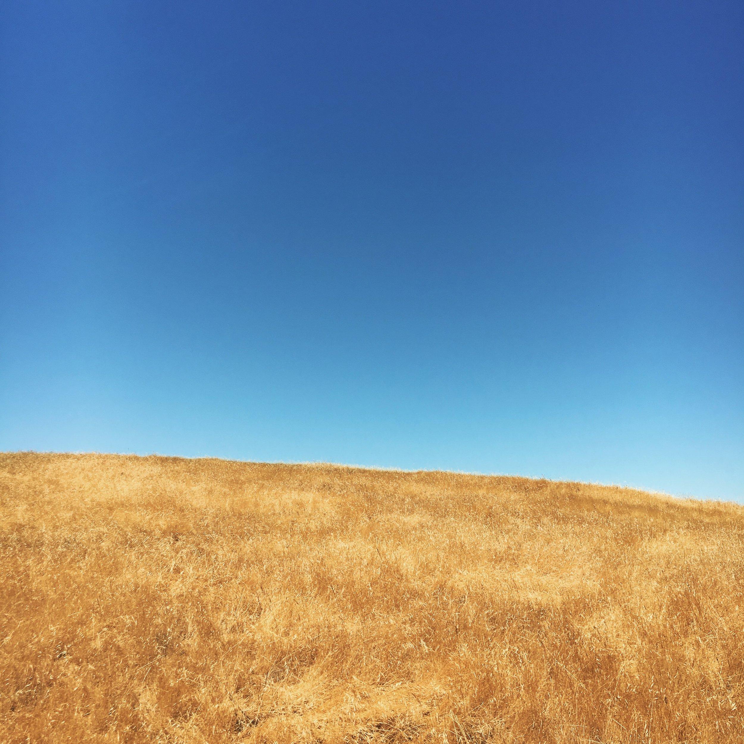 golden California hills, blue sky, summer, solstice