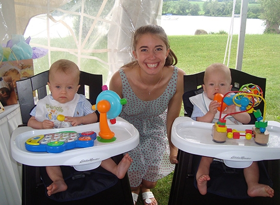 July 2017 - Big Sister Charlotte with Nathan (l) and Charlie (r).