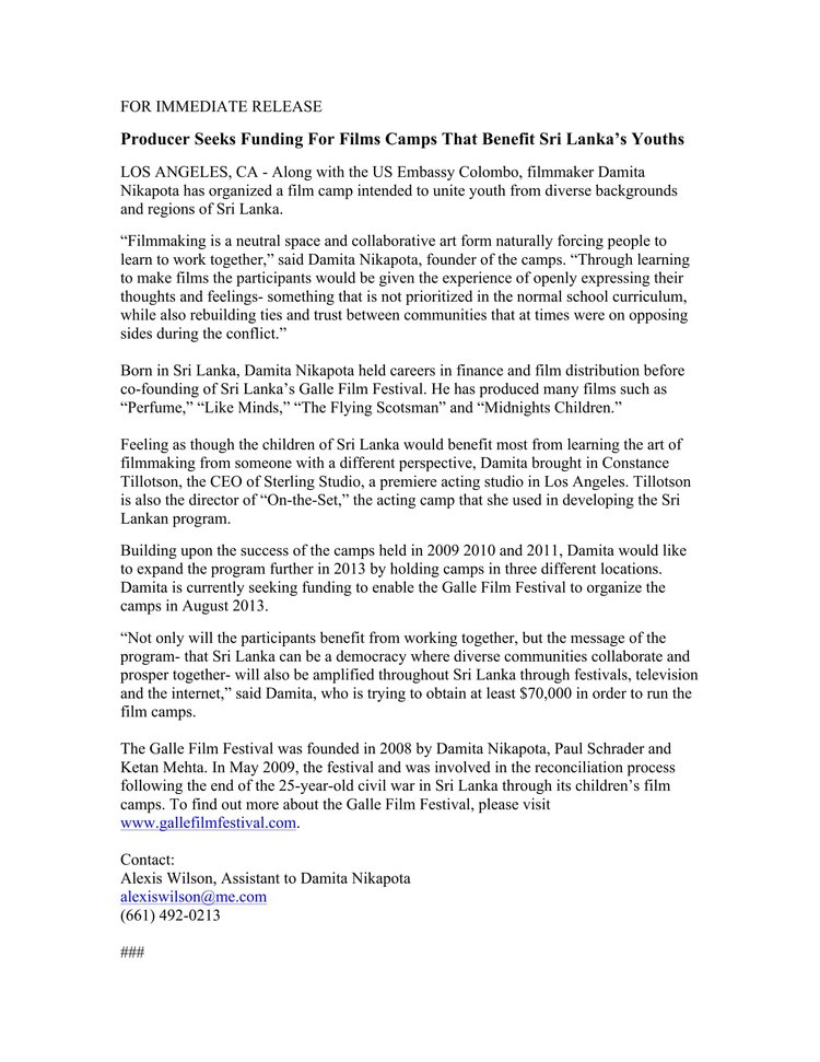 Sri Lankan Film Camp Press Release