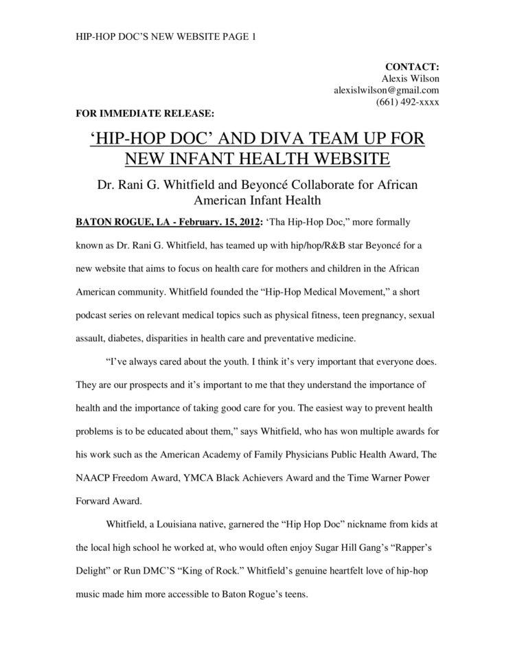 Hip Hop Doc Press Release