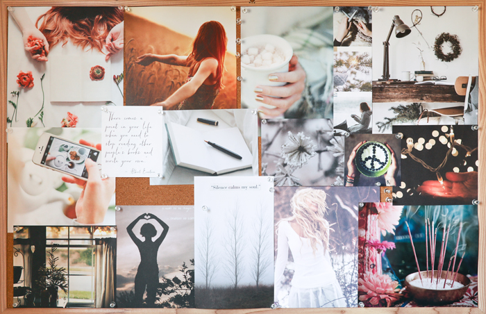 My winter vision board. The theme is spaciousness and creative expression.