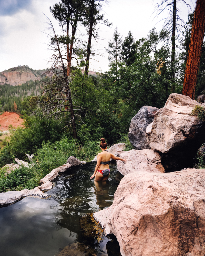 Jemez Springs natural hot springs, just a short hike to access these two pools with beautiful mountain views.