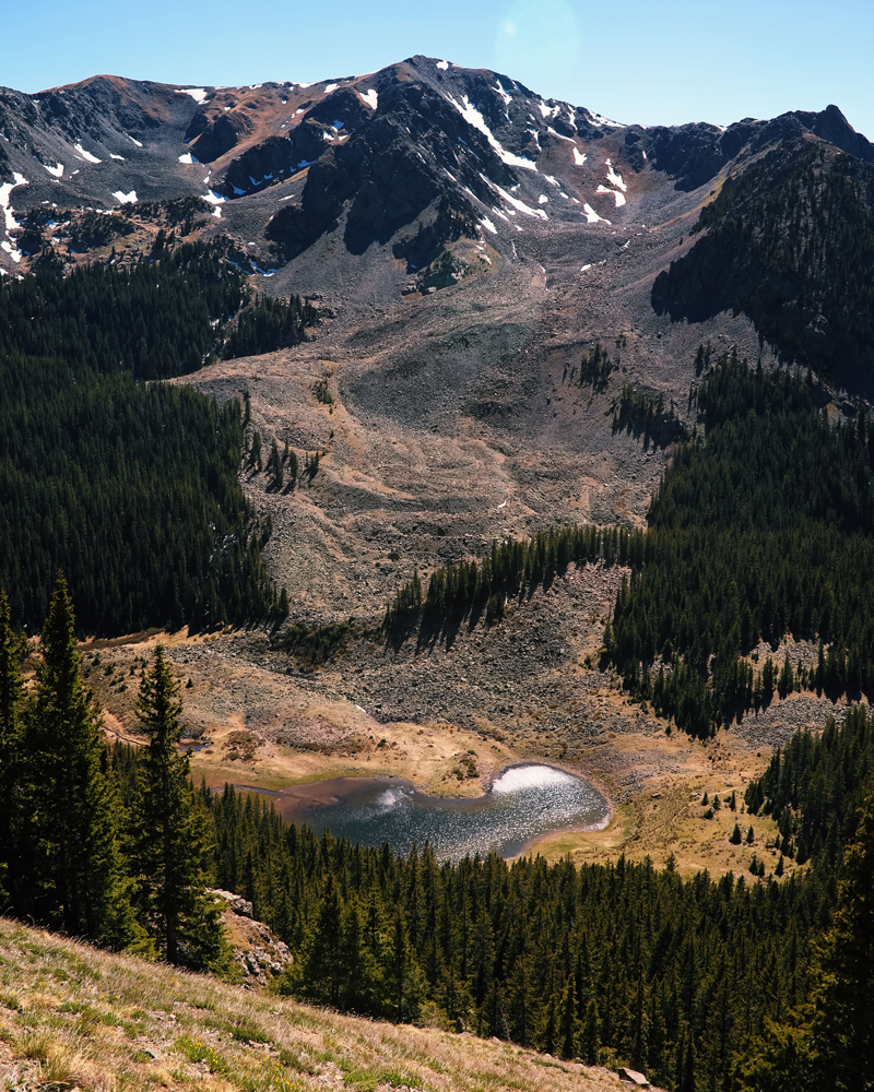 A view of Williams Lake while summiting Wheeler Peak, the highest point in New Mexico.
