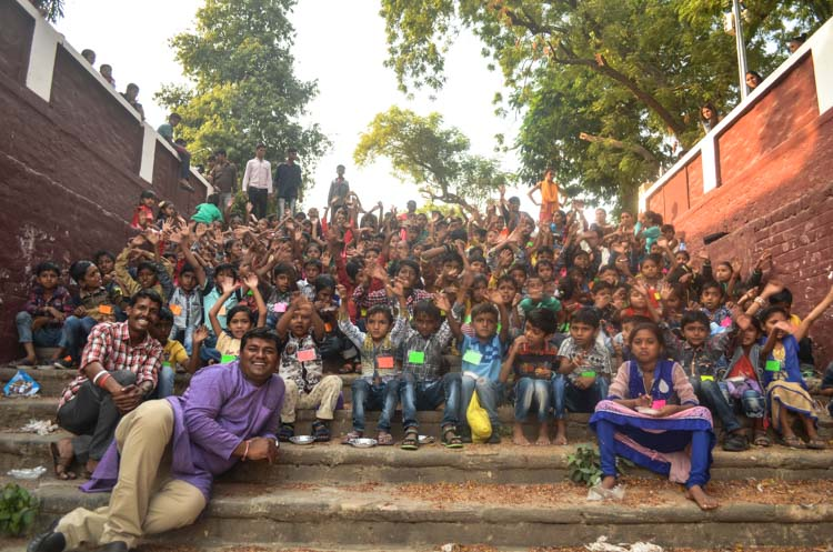 Kiran Center Students and teachers with Ajay (front), the center director, on Children's Day