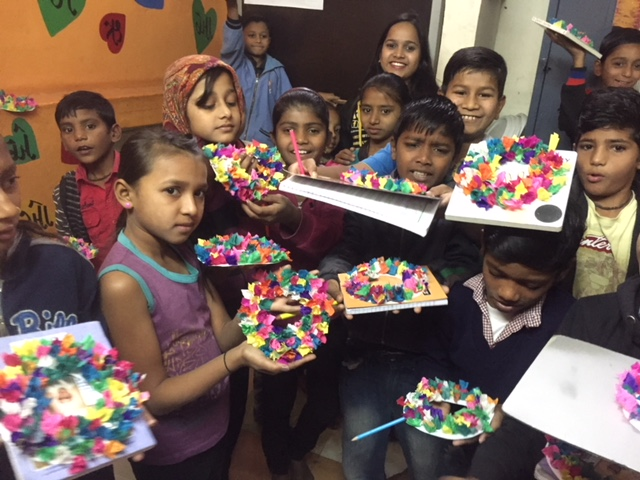 Making Christmas Wreaths with Children at Kiran Center