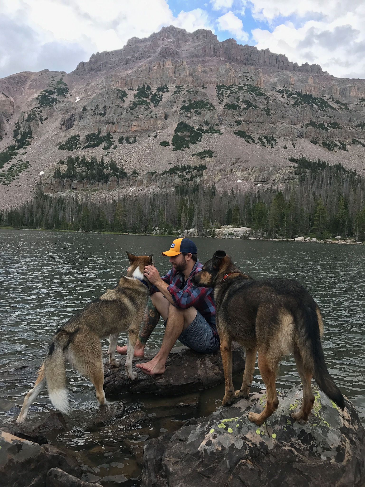 Trout seemed abundant in the lake, but even if we had poles our pups constant need to splash around would likely leave us hungry.