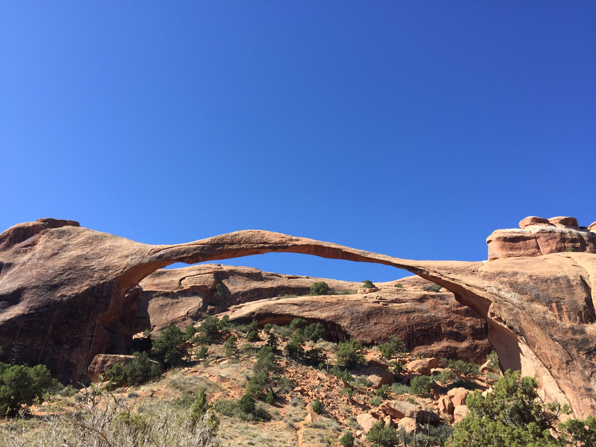 LANDSCAPE ARCH. Just one quick mile from the trailhead you will find the fifth longest recorded arch in the world, Landscape Arch. It measures at 290ft across at it's longest section. At one time you were able to stand underneath it, but on a sunny afternoon in the 90's a large slab fell causing the guests underneath to scatter. It is a powerful reminder of the changes this landscape undergoes over long periods of time or in a matter of seconds.
