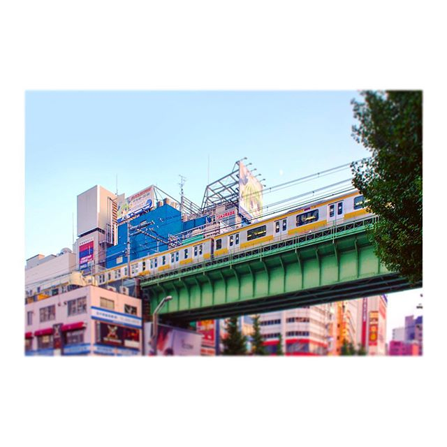 アキバ!!( ´ ▽ ` )🚋 #秋葉原 #akihabara #アキハバラ #アキバ #akiba #electric #town #electrictown #秋葉原電気街 #chuodori #tokyo #東京 #電車 #densha #train #city #street #sky #空 #photography #街撮り #橋 #bridge #tiltshift #ティルトシフト #colors #instagood #japan #日本