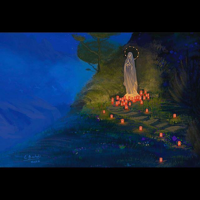 Santa Regina #santa #regina #maria #art #nature #mountains #conceptart #lightandcolor #corsica #secret #painting #digitalart #digitalpainting #night #candles