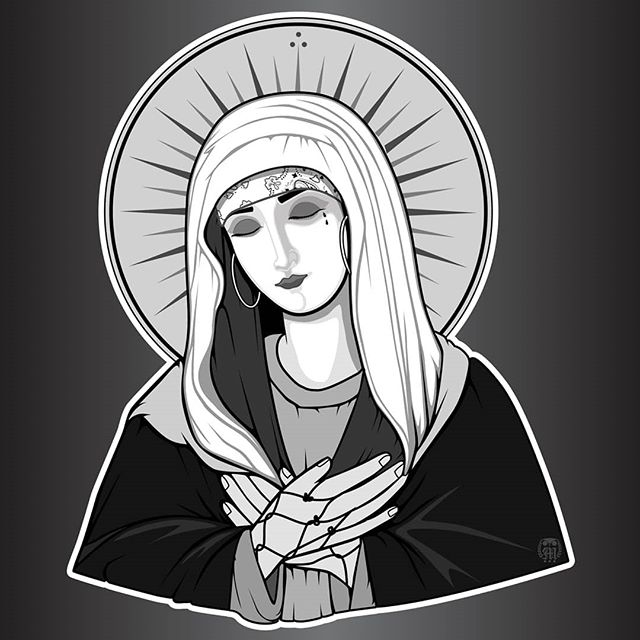 New sticker design. #mistyk1design #artist #design #illustration #stickerdesign #stickers #virginmary #gangster #chola #cholabands #bandana #designer