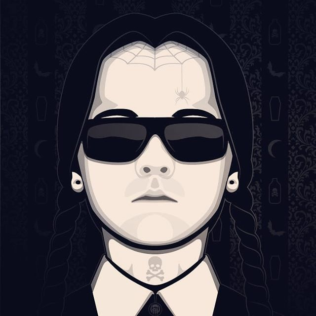 In honor of the new Adam's Family movie dropping today. Here's one of my newest designs. #mistyk1design #art #adamsfamily #wednesday #wednesdayaddams #movies #illustration #illustrator #halloween #sunglasses