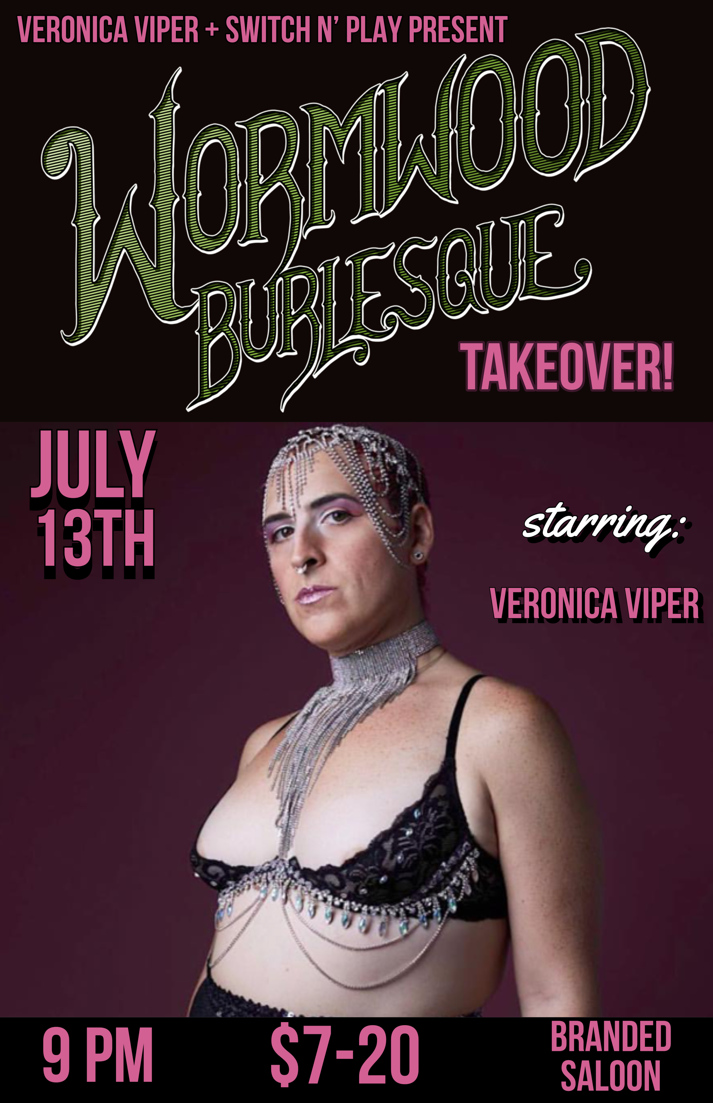 "Wormwood Burlesque TAKEOVER of Switch N Play at Branded SaloonTickets Available Below - use code ""VIPER"" - ART - PERFORMANCE - NUDITY - MEANING"