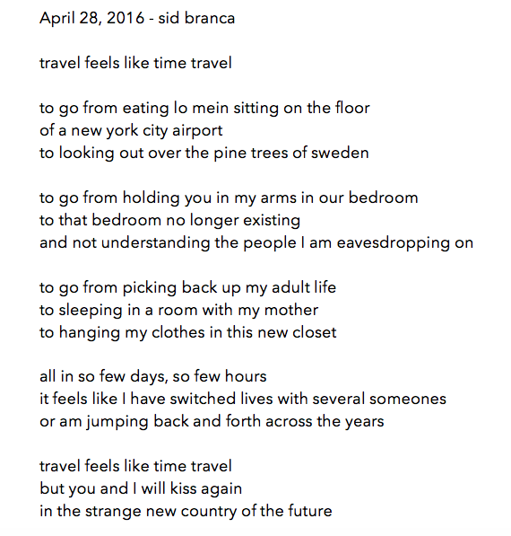 manymistypes :    poem for april 28, 2016 - sid branca.   almost done with april y'all.