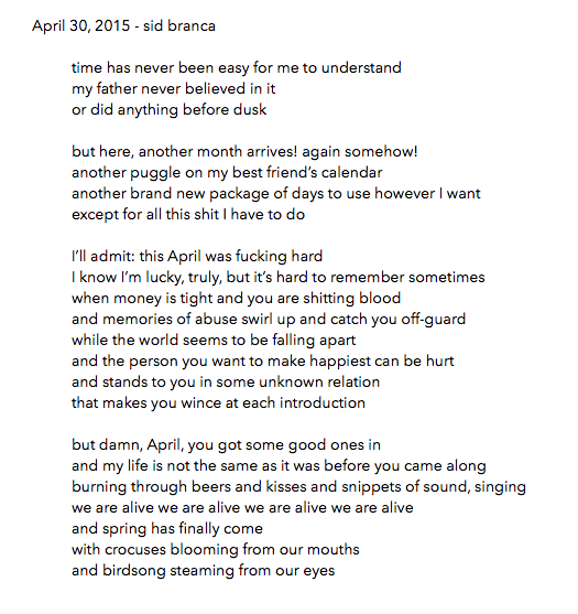 manymistypes :     April 30, 2015 -  sidbranca  /  thisbedisaship   thanks so much for letting me be a part of this y'all. i've really appreciated it. happy may. <3     my last poem for the month over at many mistypes.