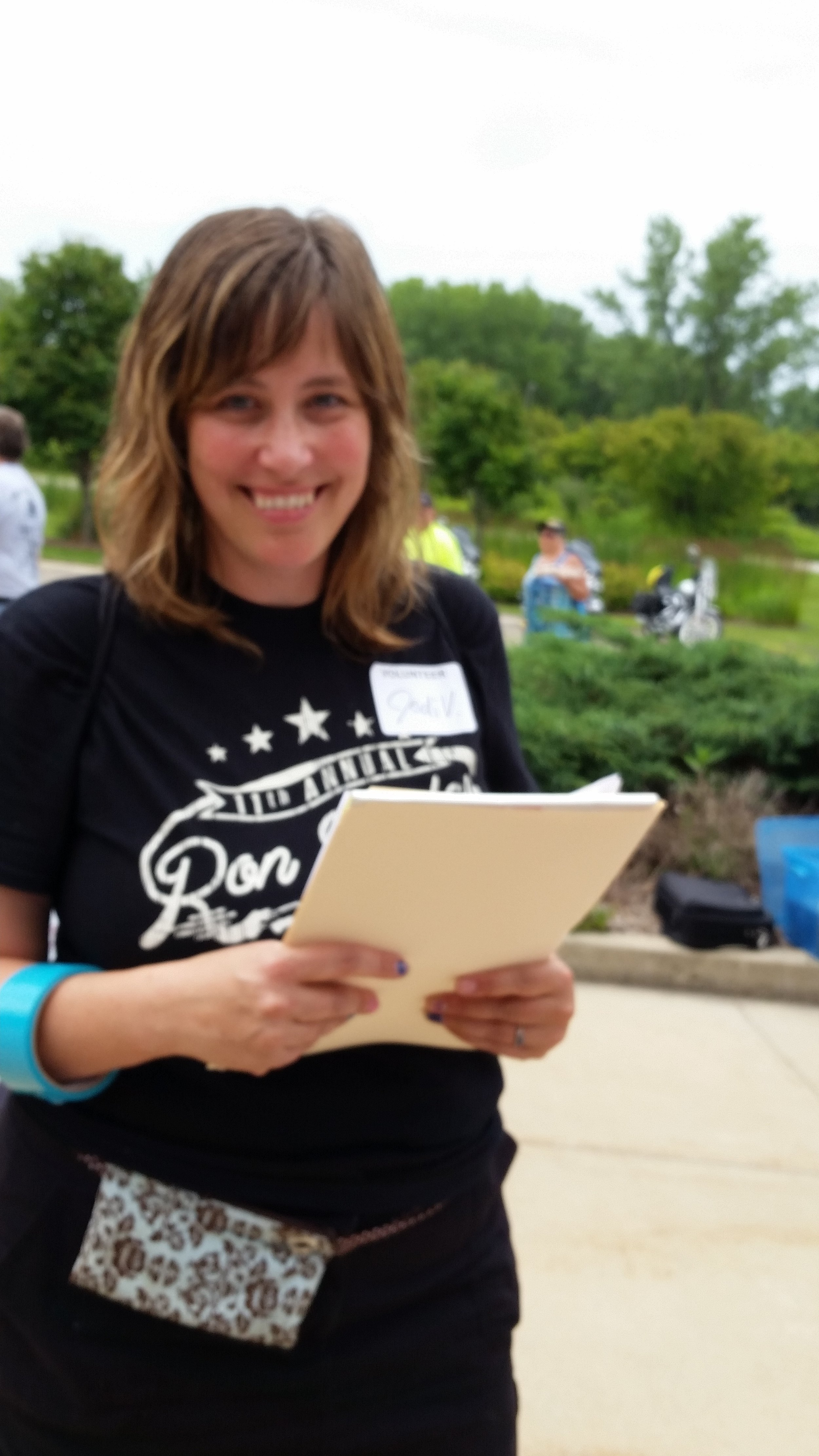 Jodi at the annual ron boylan motorcycle ride that benefits safe harbor, one of the many events she organizes.