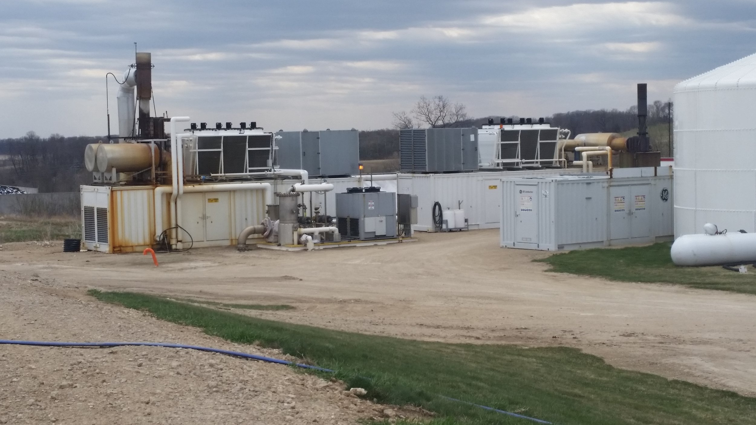 Two one megawatt generators are pictured here that produce energy by burning the methane.