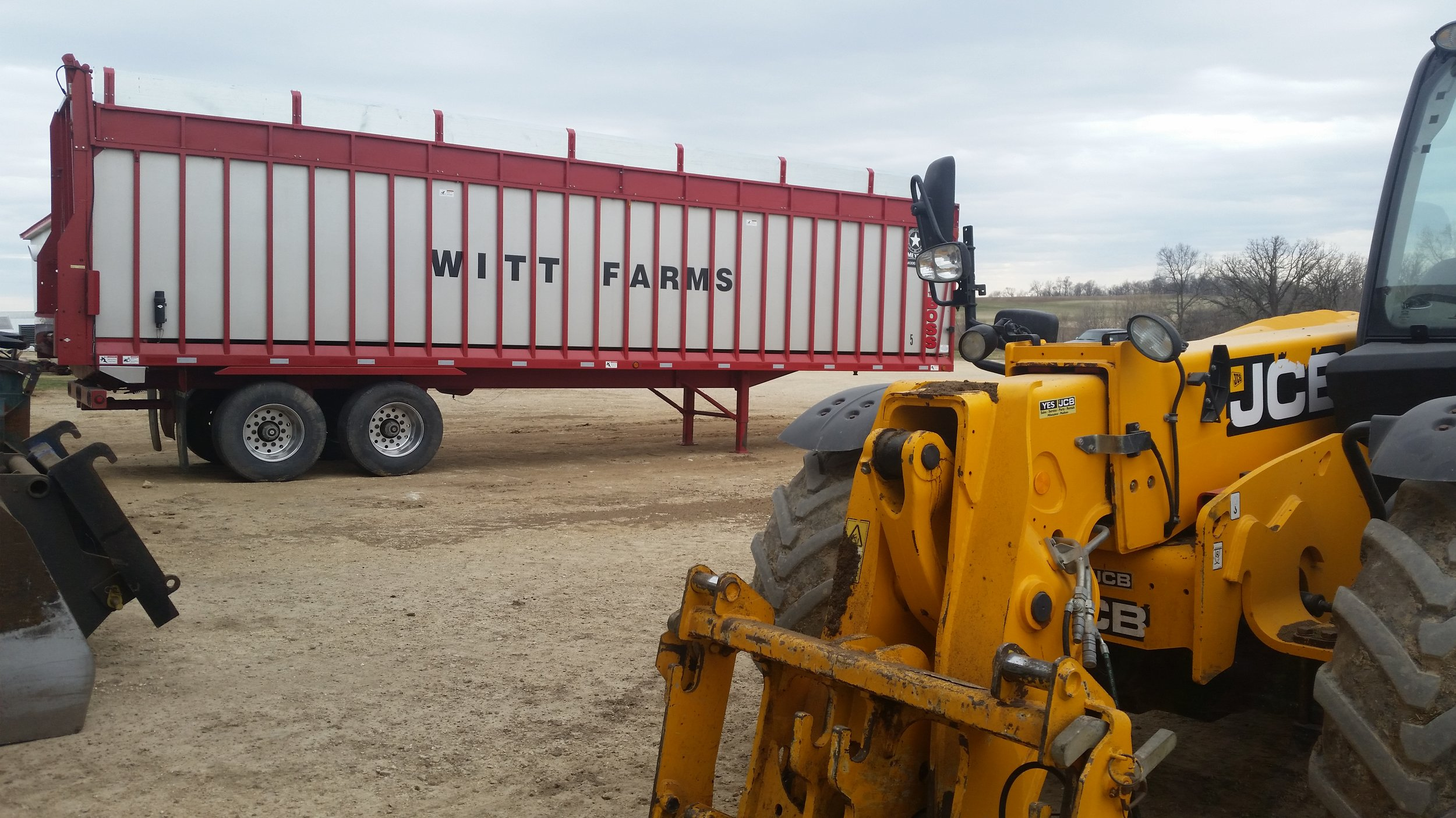 A semi and a loader pictured here help load and haul the Digested Manure Solid out of the watershed.