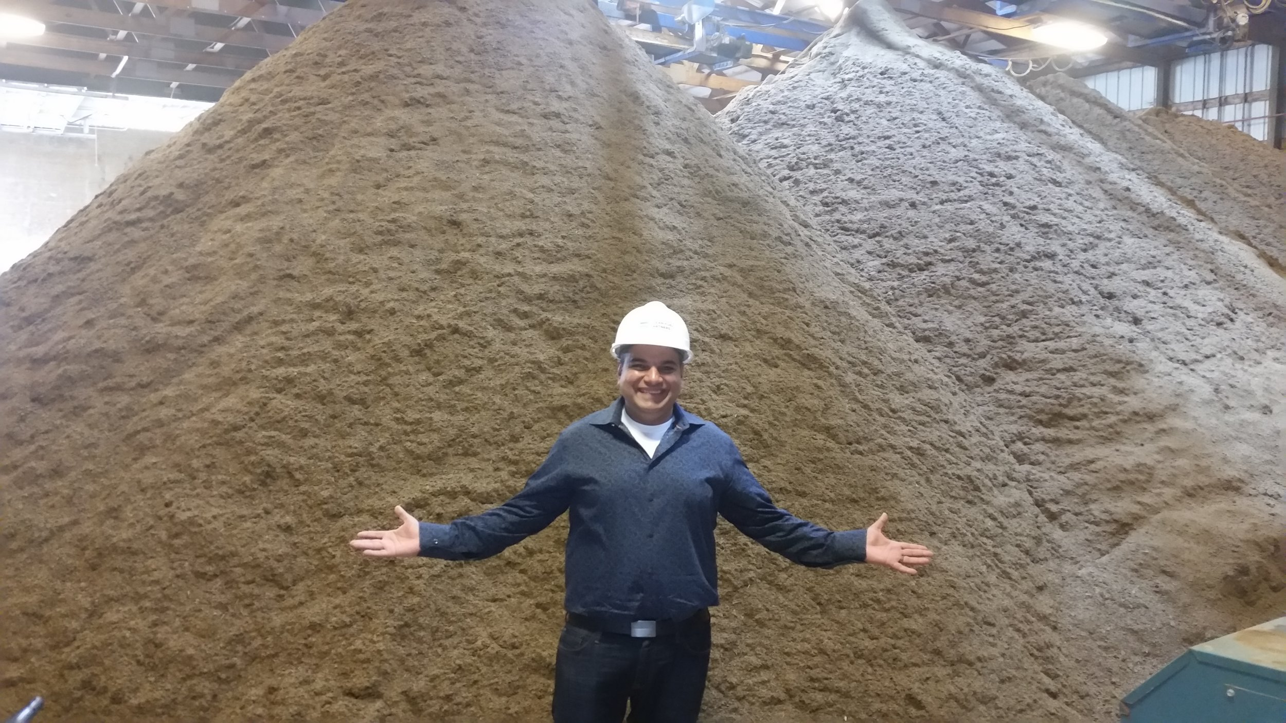 I am standing in front of a pile of digested manure solid after it has been processed.  one of these piles is generated per day and trucked out of the yahara watershed.