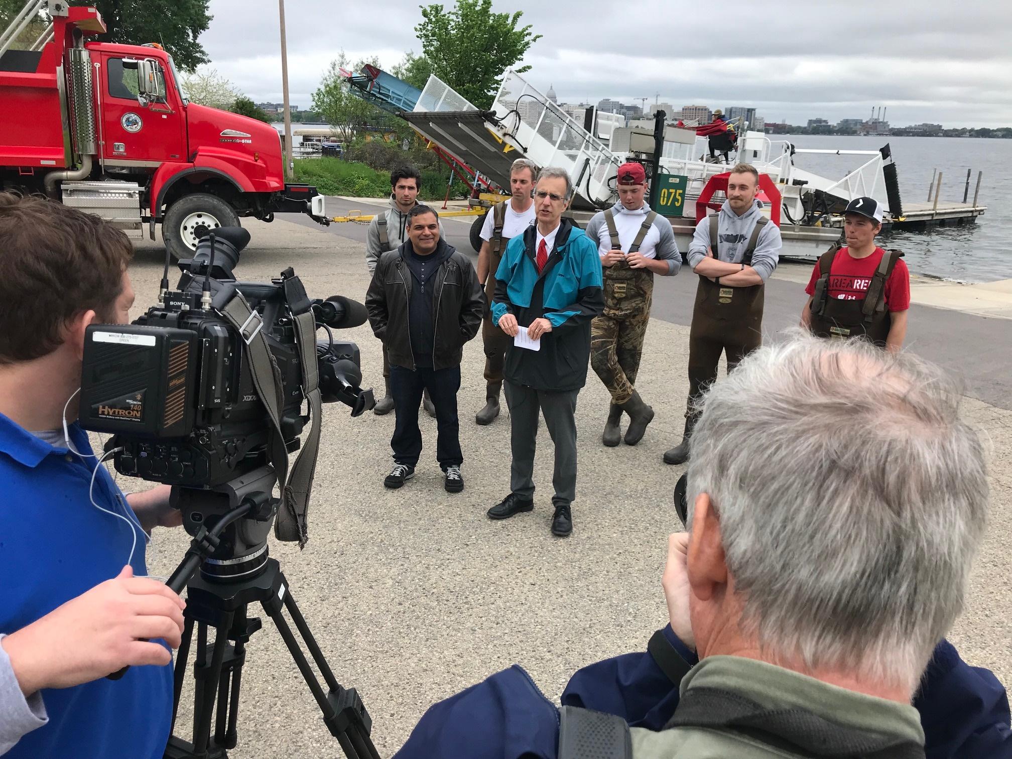 Yogesh joins County Exec Joe Parisi to discuss aquatic plant harvesting and dredging.