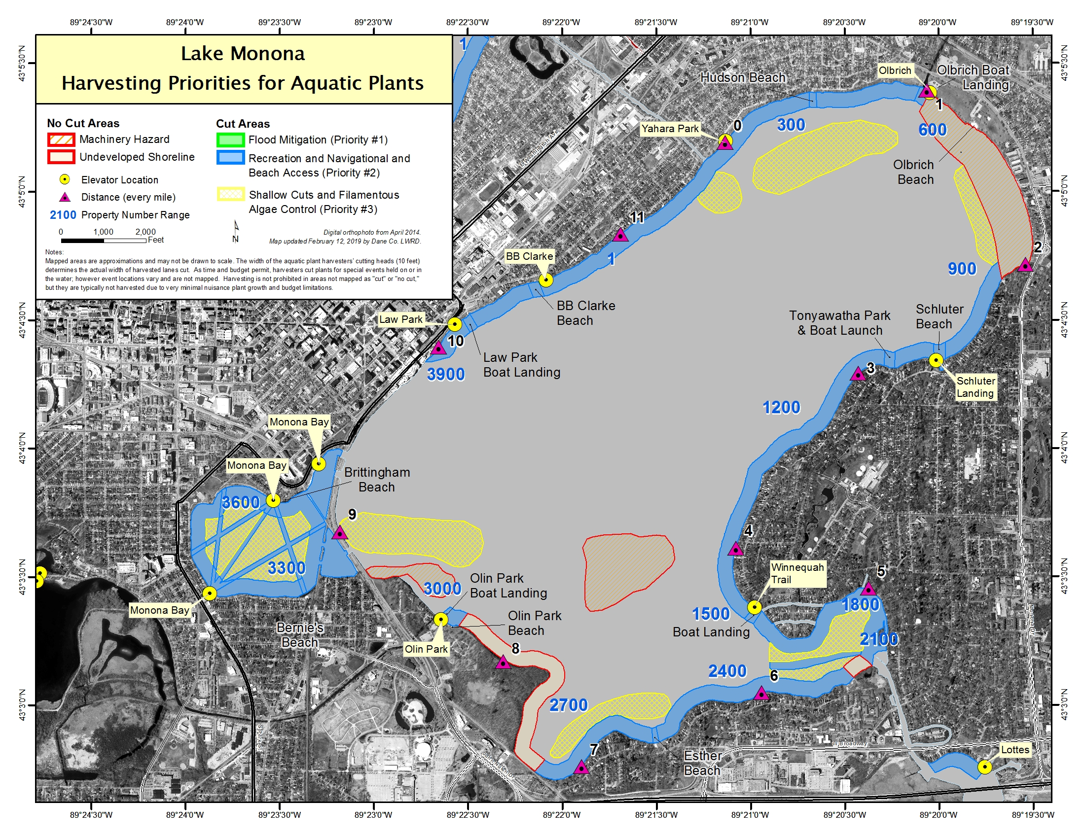 Aquatic plant management priorities on Lake Monona.