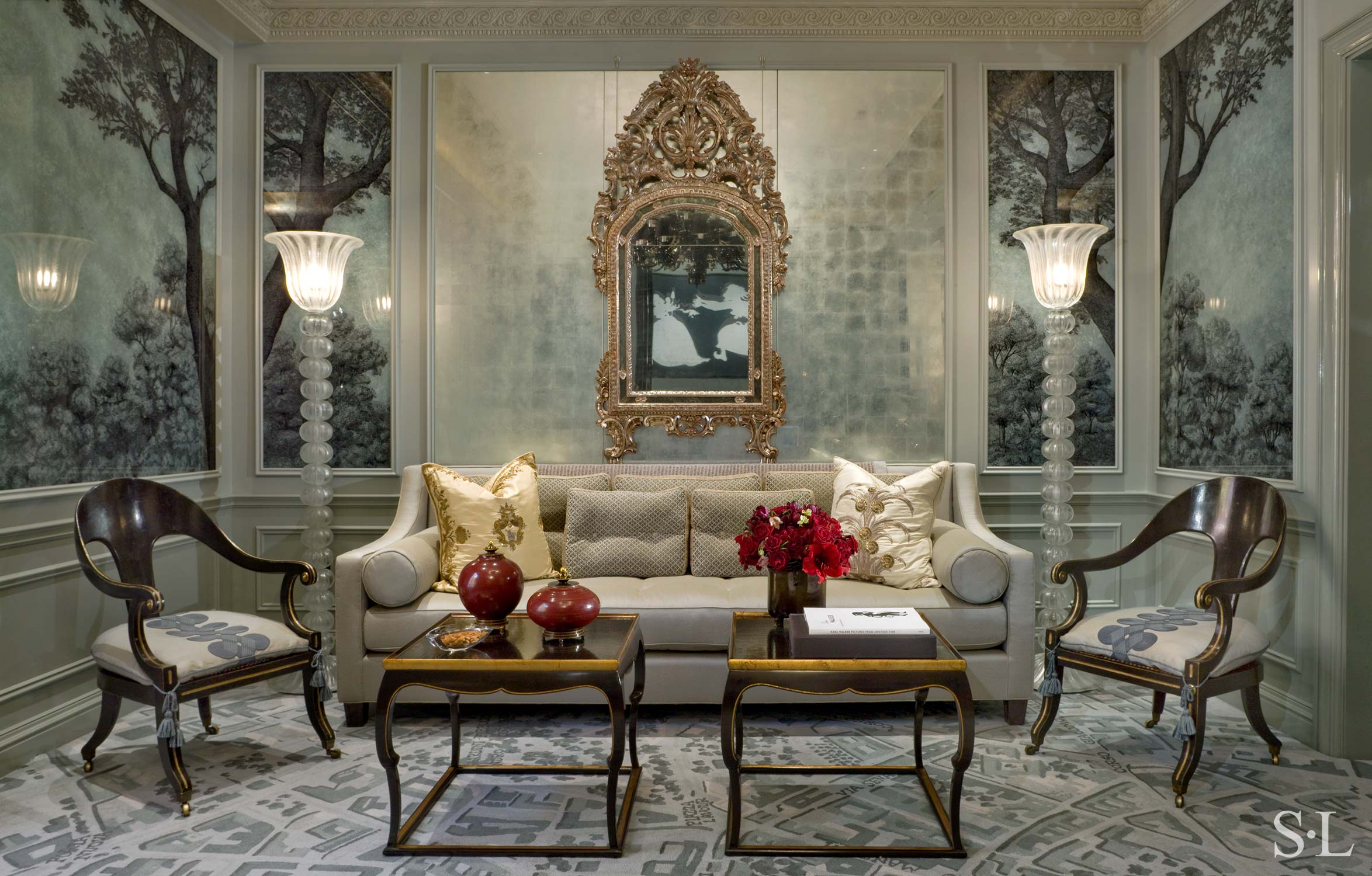 custom sofa, seat upholstery with tassles & decorative throw pillows  Interior Architecture & Design: Suzanne Lovell, Inc.