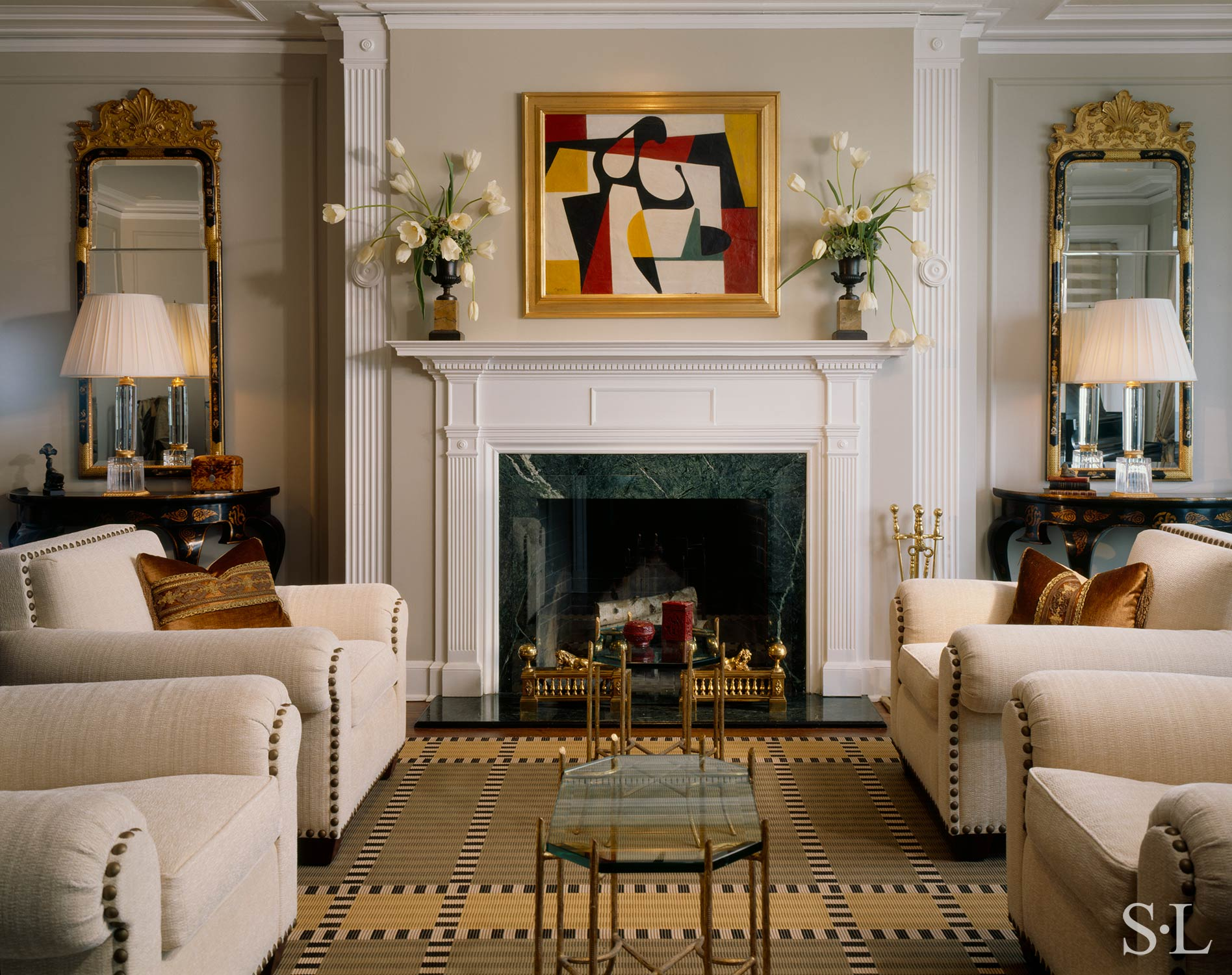custom rolled arm lounge chairs & decorative throw pillows  Interior Architecture & Design: Suzanne Lovell, Inc.