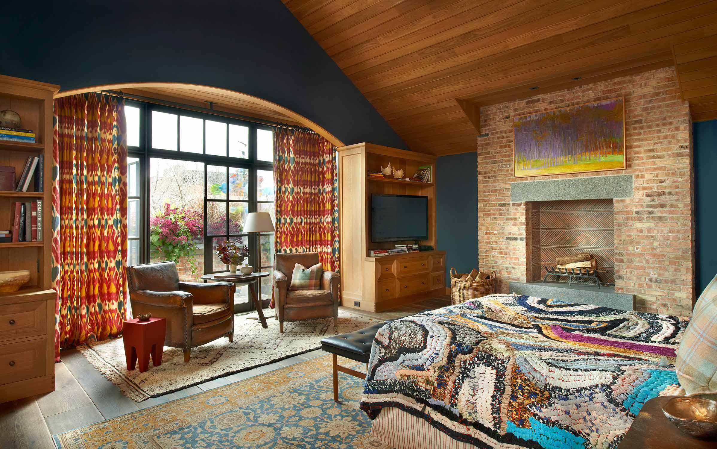 window treatments, bedding, shams & upholstery  Interior Design: Bruce Fox, Inc.