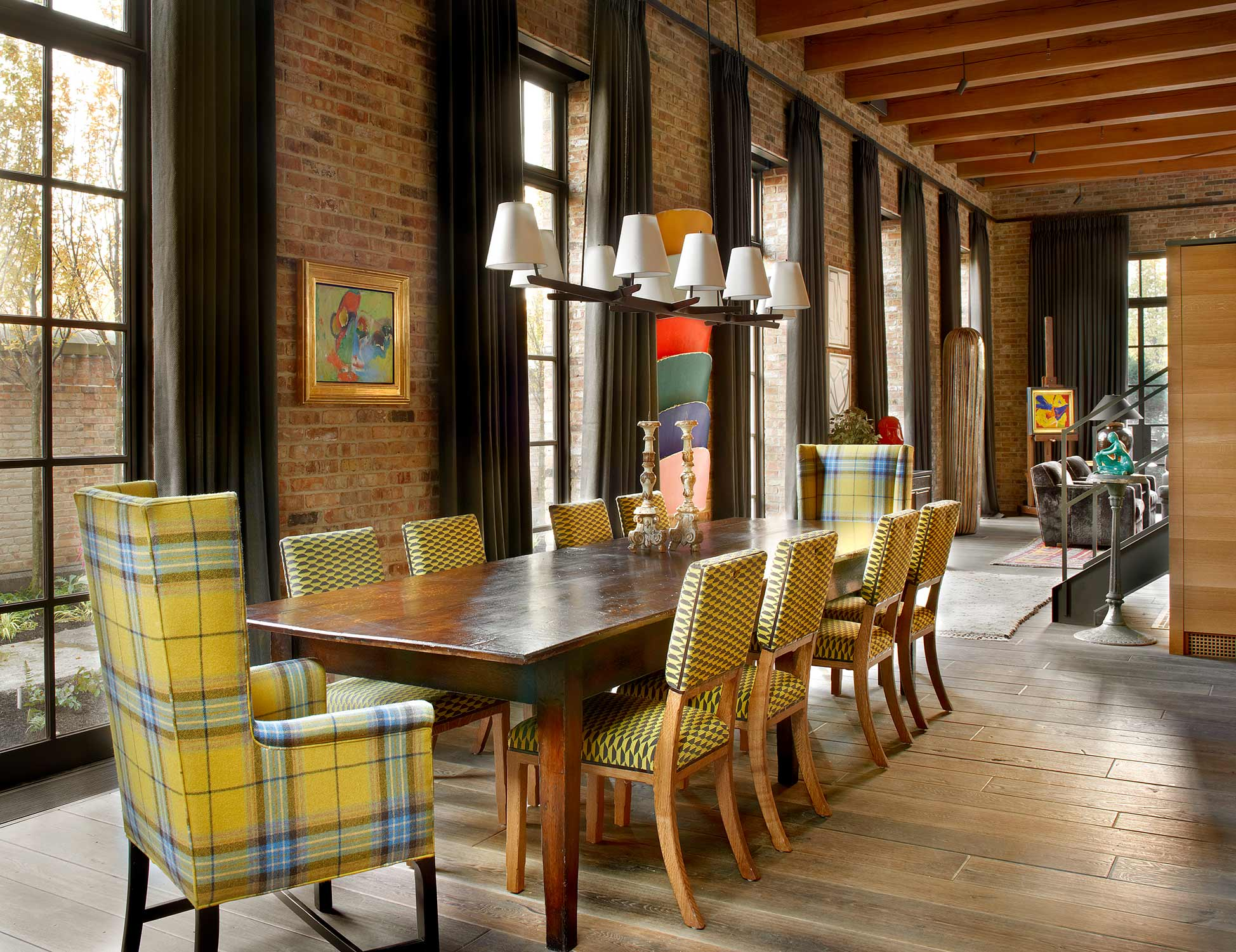 window treatments & reupholstery  Interior Design: Bruce Fox, Inc.