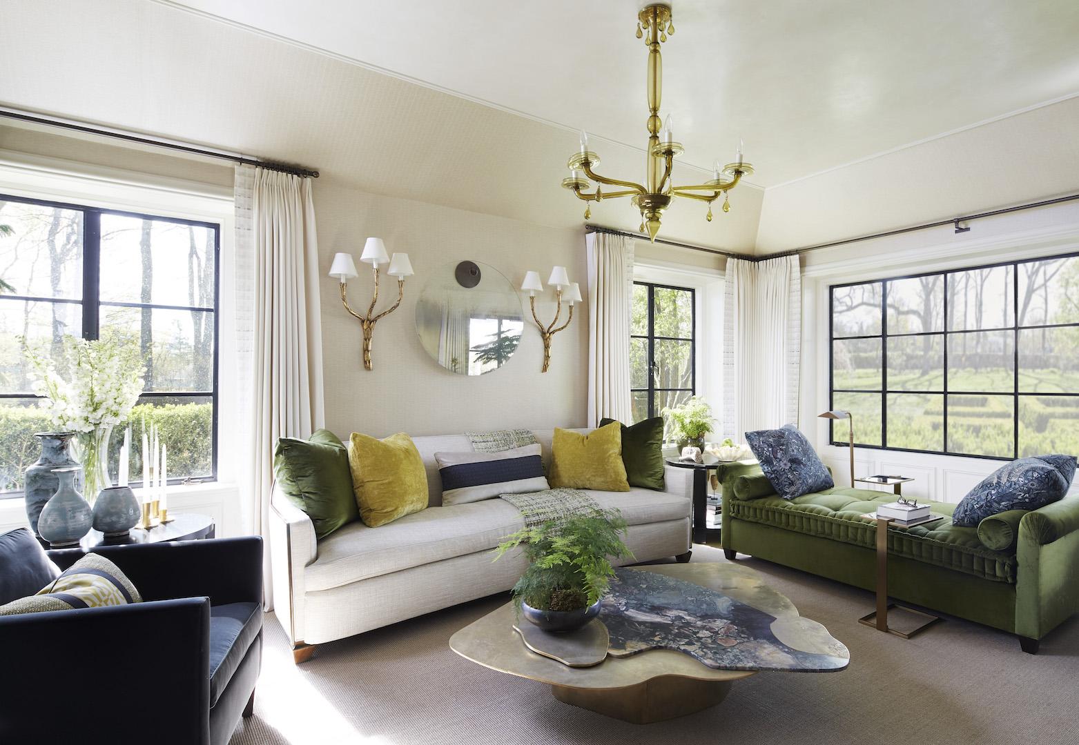 custom daybed, custom tuxedo chairs & throw pillows  Interior Design & Architecture: Lichten Craig Architecture & Interiors