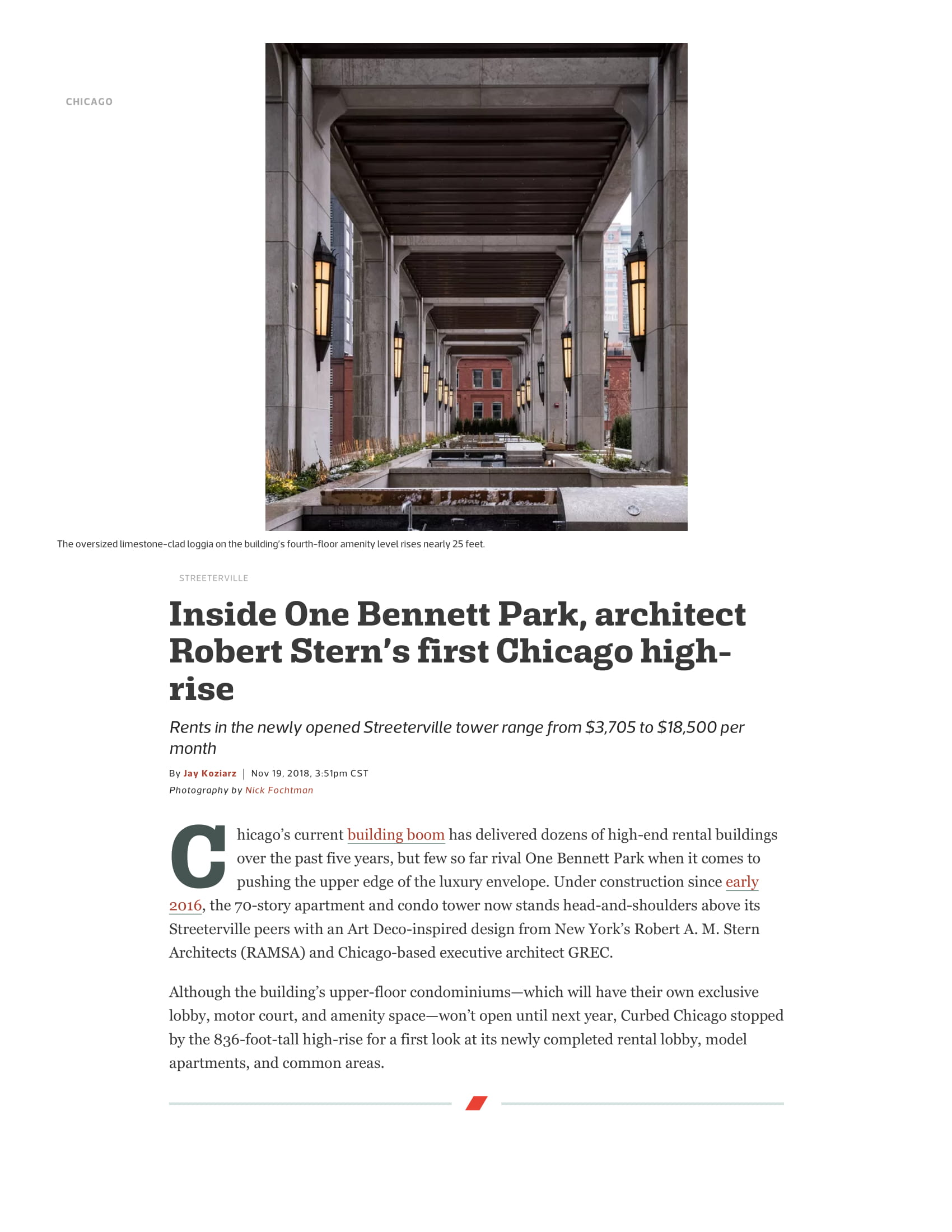 window treatments Interior Design & Architecture: Robert A.M. Stern Architects for One Bennett Park, Chicago  curbed.com, november 2018