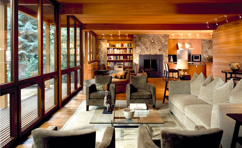custom sofa & reupholstered lounge chairs  Interior Design: Leslie Jones & Associates, Inc.