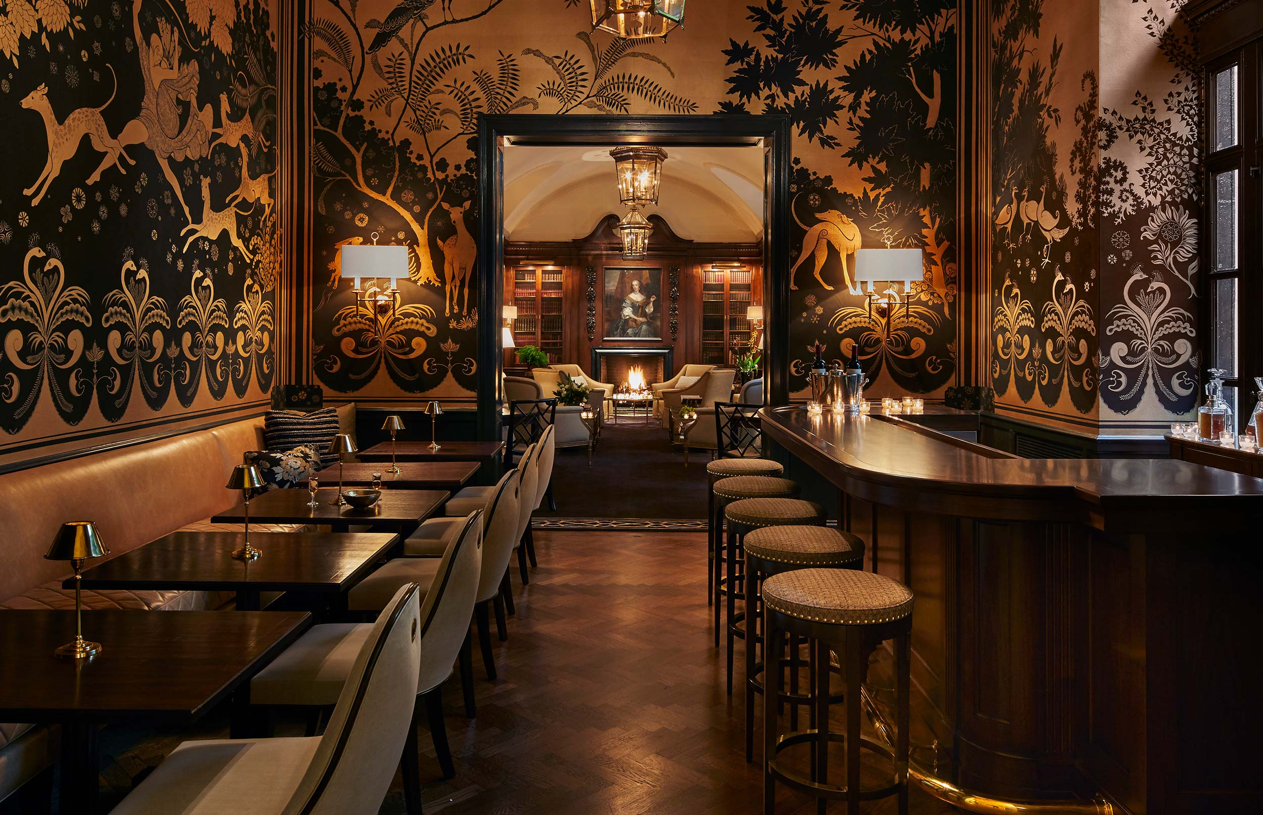 custom furniture: banquette, dining chairs, bar stools & decorative throw pillows  Interior Design: Craig & Company for Women's Athletic Club, Chicago