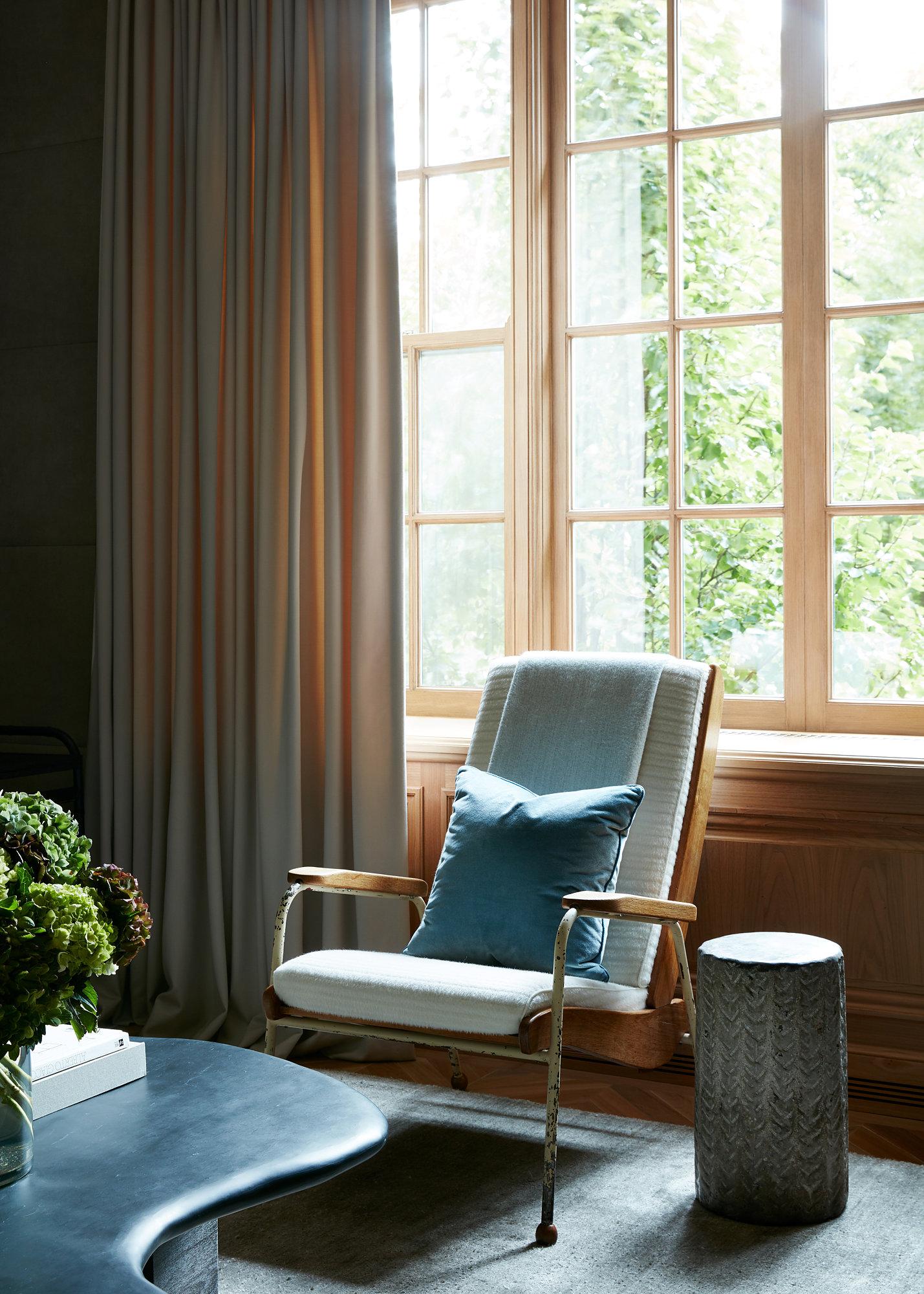 window treatments & reupholstered antique Jean Michel Frank arm chair  Interior Design: Atelier AM | Interior Architecture : Marvin Herman & Associates