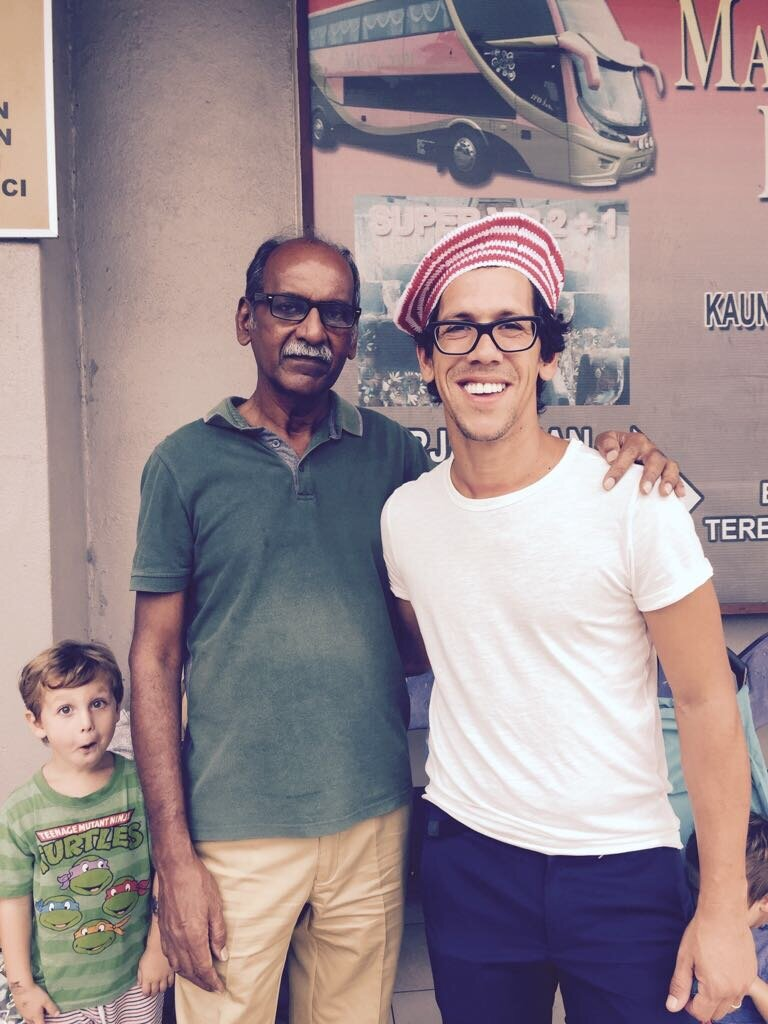 With Mohan, we met him in Melaka, Malaysia, at a bus stop, and as none came, we shared a taxi and became inseparable. Artur's beret was made by Mohan as a parting gift.