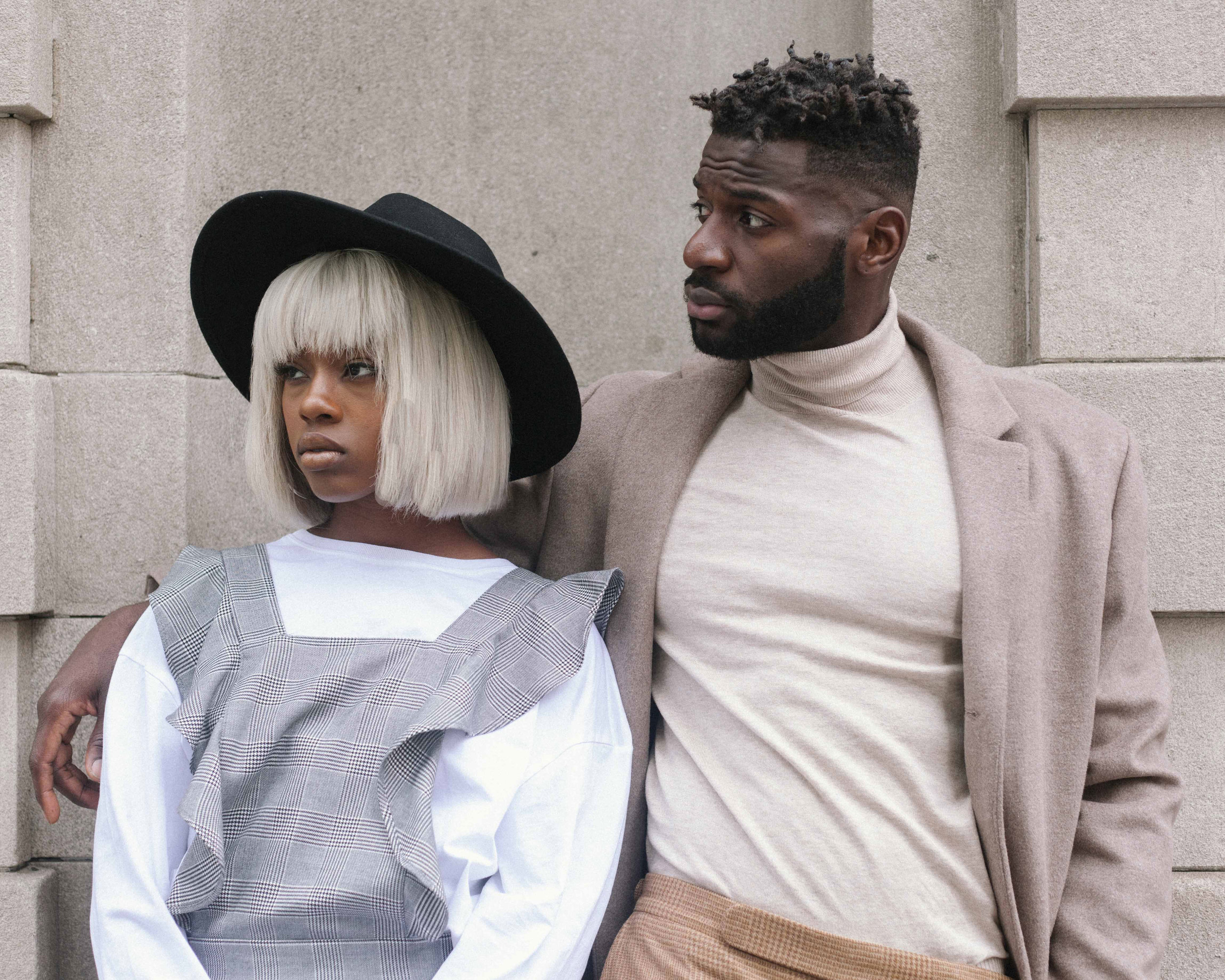 black man + woman model. portrait photography in new york city captured by jarrod anderson.
