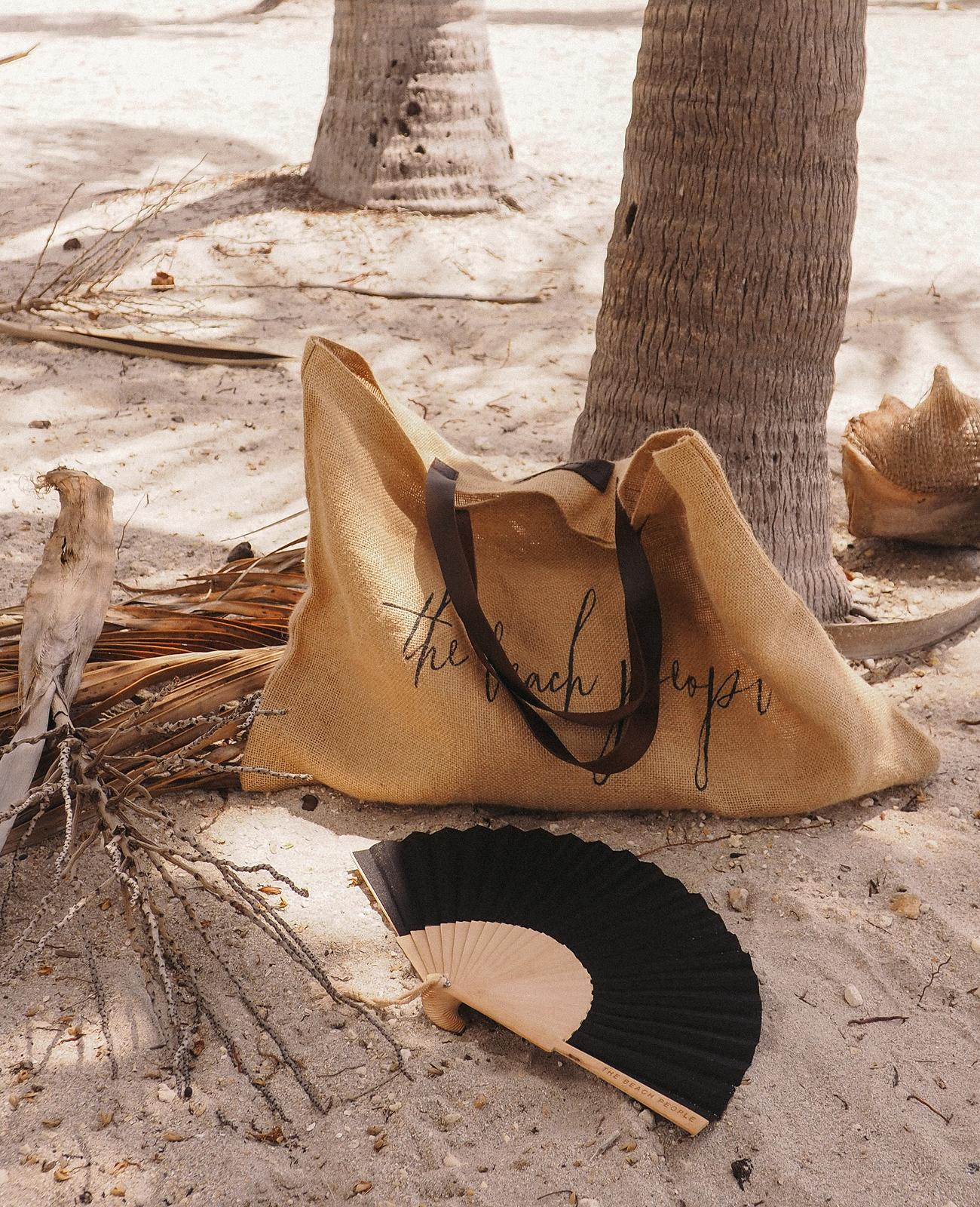 Our  Original Jute Bag  and  Linen Fan .