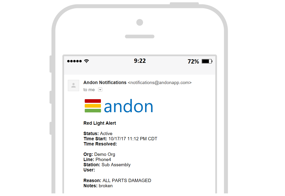 Alert notifications - Stay updated on production issues even when you're not on the manufacturing floorOur system monitors station status and yield at each workstation and automatically sends notifications when issues ariseThis enables your team to provide the highest level of support to production even as they go about their busy days