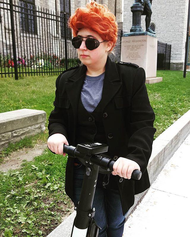 My latest demonic plot.  #goodomens #goodomenscosplay #crowleycosplay #crowleygoodomens #youmacon #youmacon2019 #scooter #myride