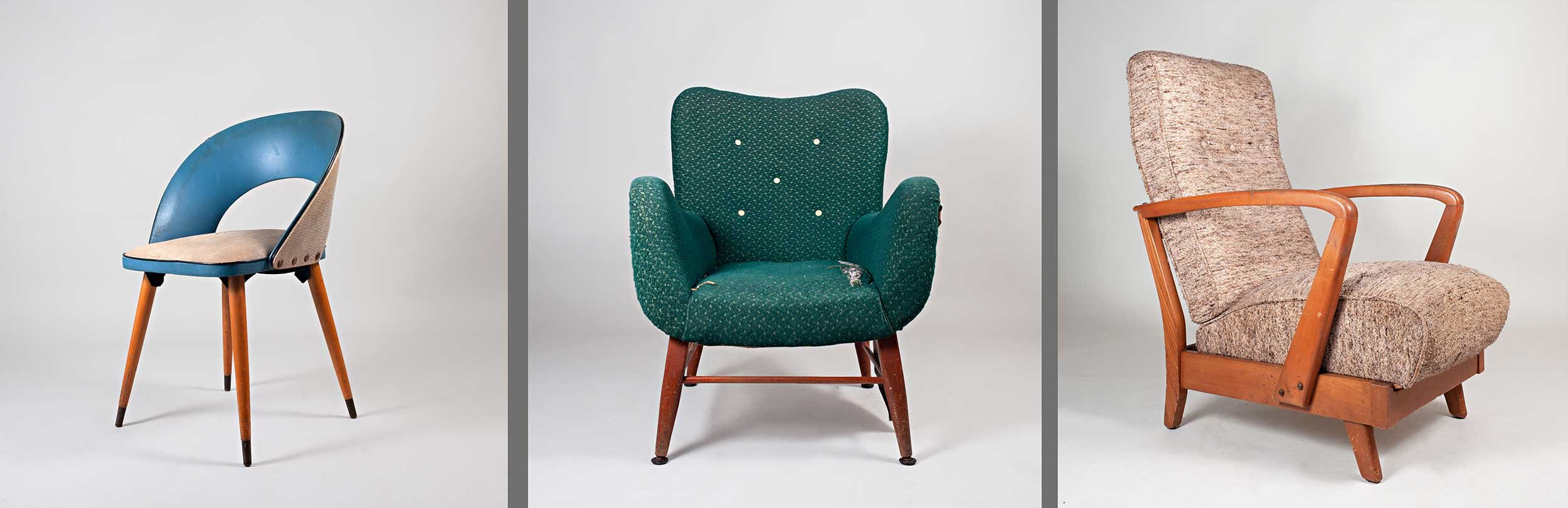 Featured from left to right:  1950's kitchen chair ,  1950's armchair  and  1950's recliner armchair  (one of two)
