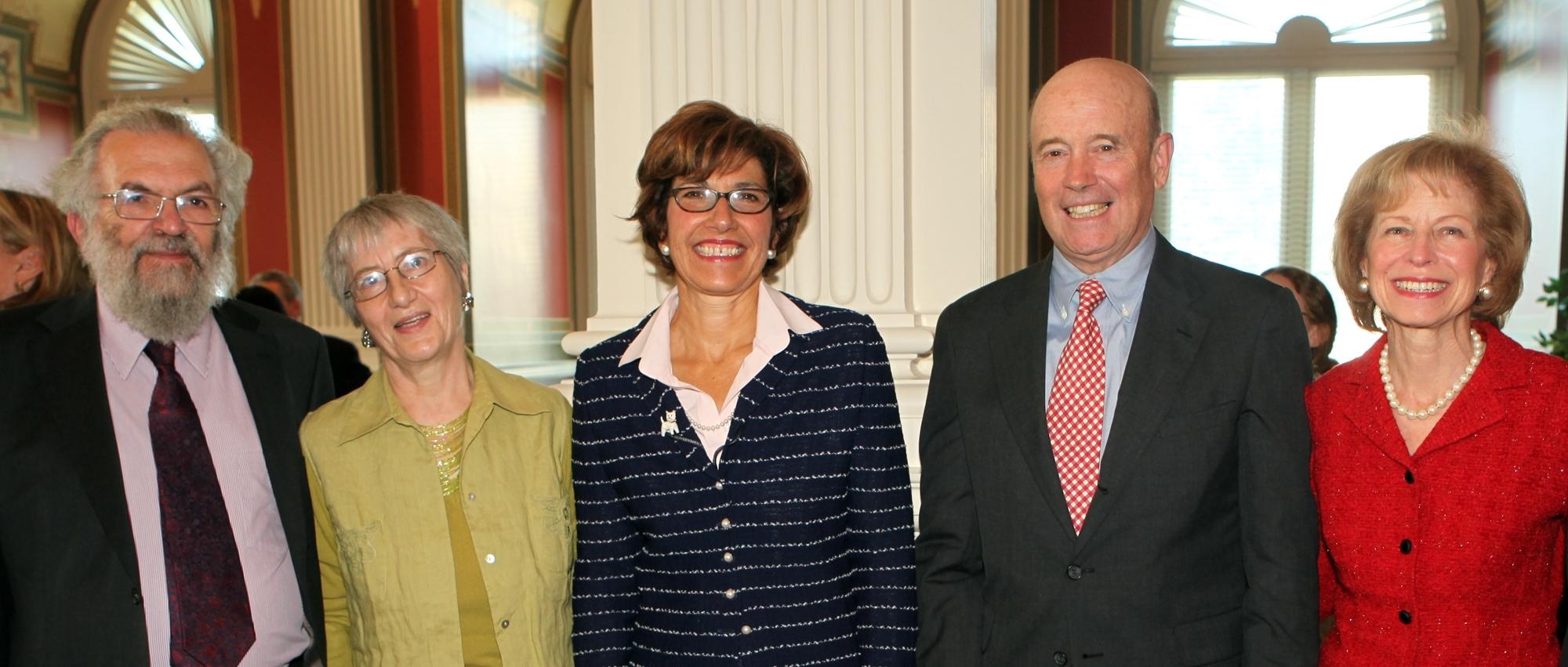 Left to right: Professor Joseph Raz, Dr. Penolope Bulloch, Roberta I. Shaffer, Frederic R. Kellogg and Molly S. Kellogg (Library of Congress photos /Abby Brack)