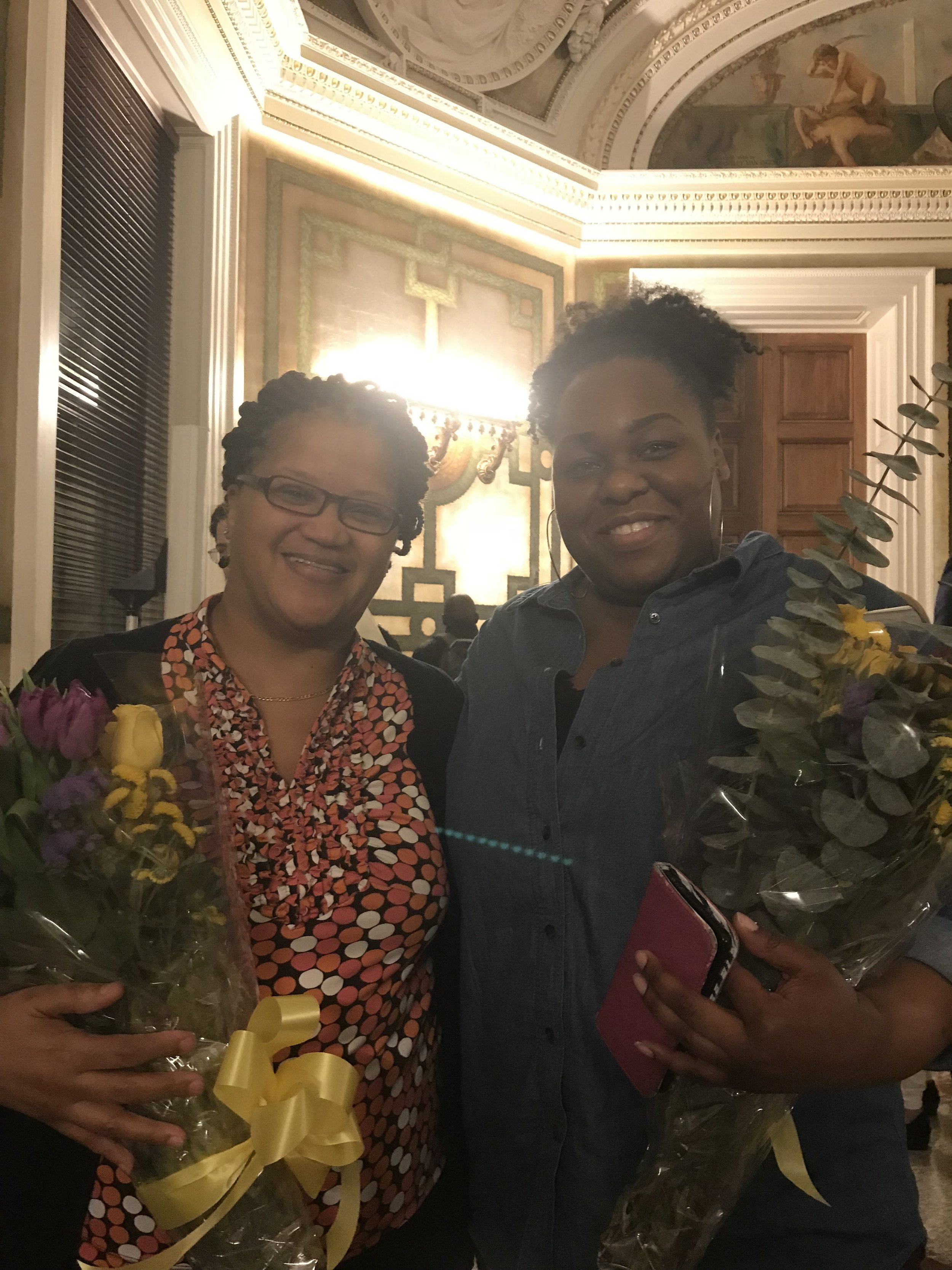 Library of Congress staff, who assisted in research and library services for  The Santillana Codes , honored with flowers.  Thank you.