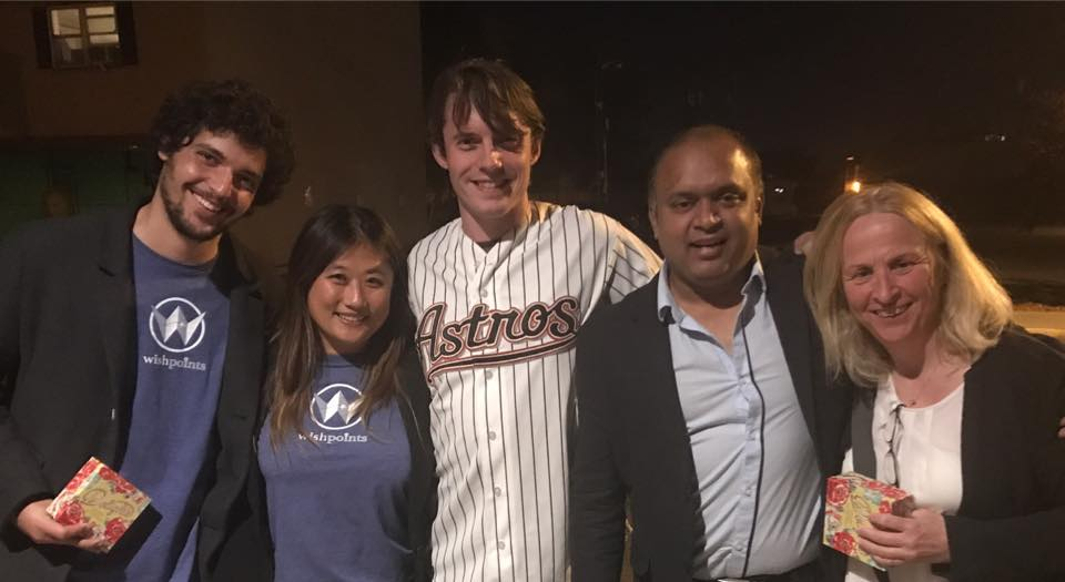 What an honor to be in this picture, alongside the founders of Wishpoints and Skil Route! Of course I had no choice but to represent my childhood heroes, the Houston Astros, who are also playing in the World Series.