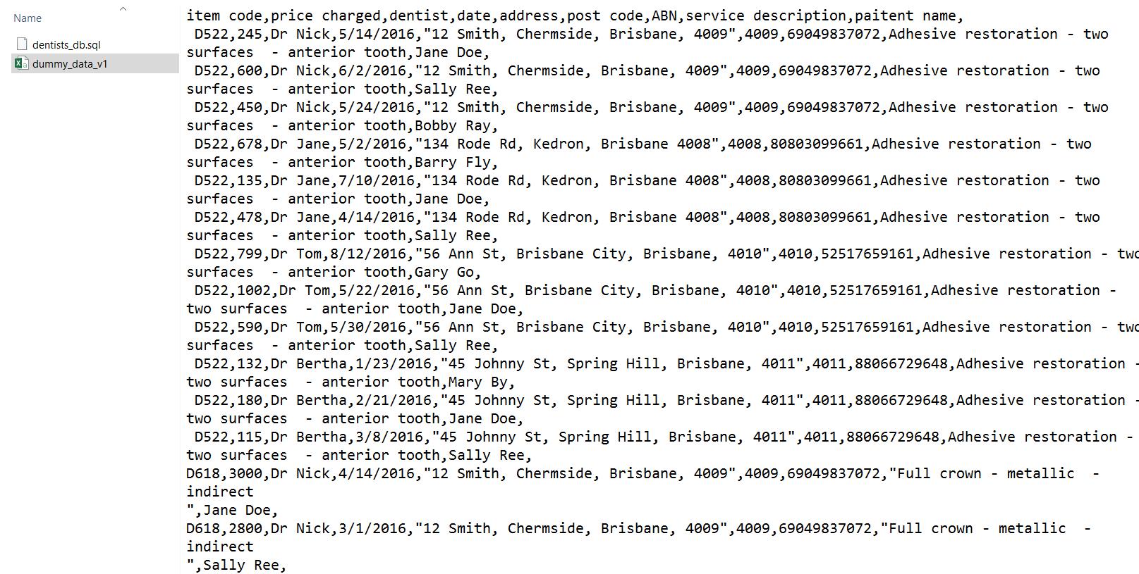 dummy receipt dataset