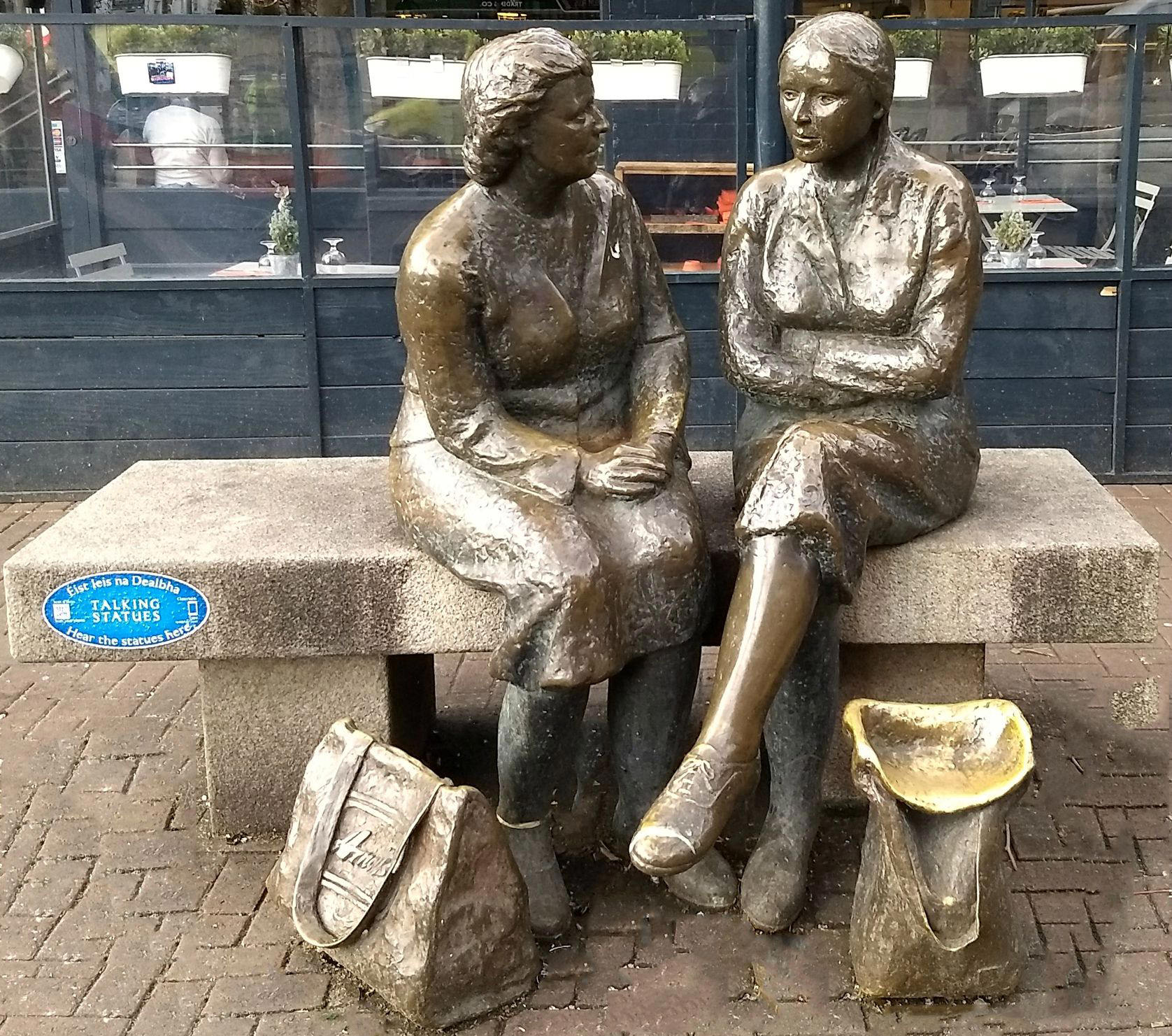 """The statue known as """"Meeting Place"""" is better known as """"The Hags with Bags!"""""""