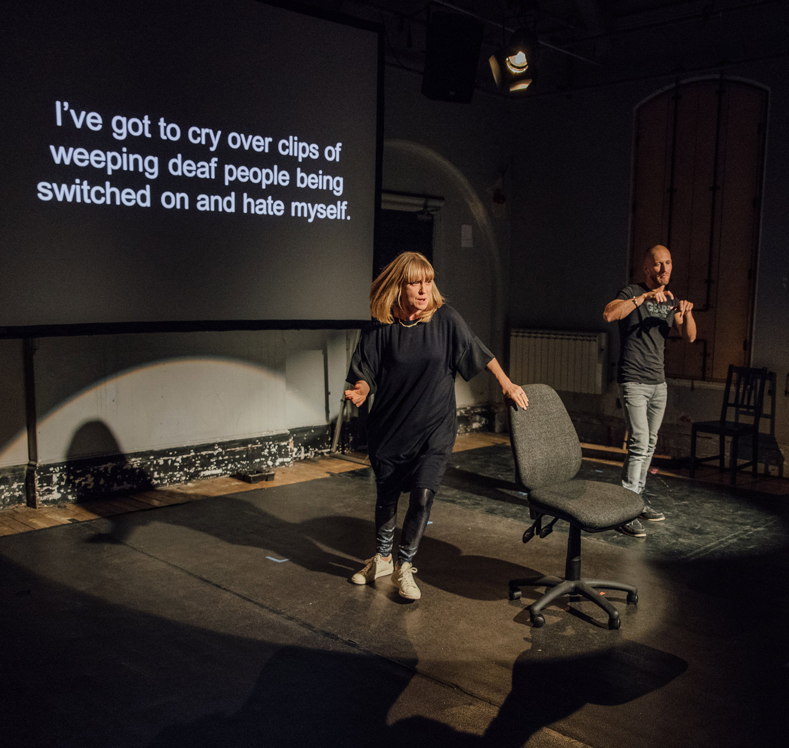 Sophie performs a scene from her upcoming play 'Augmented' at Battersea Arts Centre's Freshly Scratched showcase. Photographer for Augmented Photos:   David Monteith-Hodge