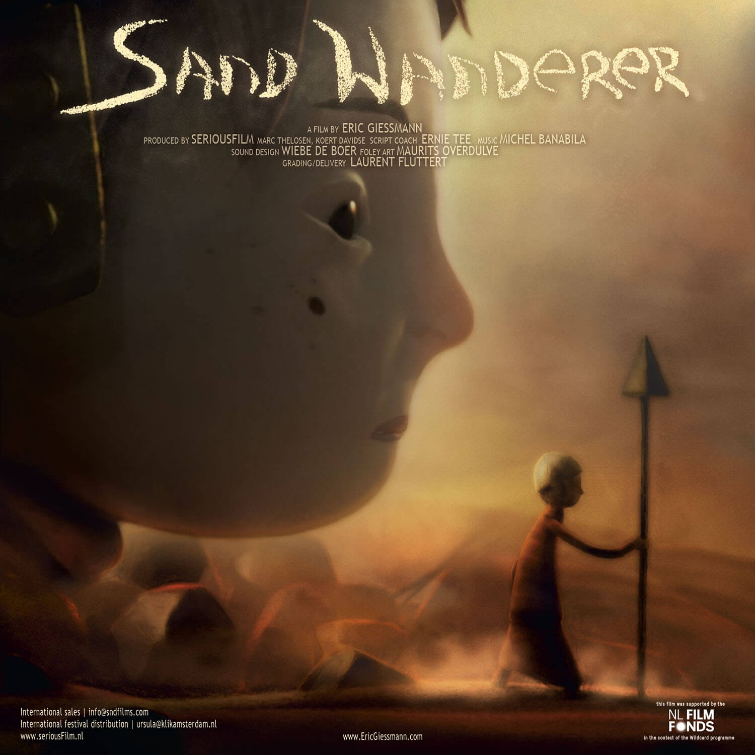 Promotional poster for Eric Giessmann's latest animation 'Sand Wanderer'