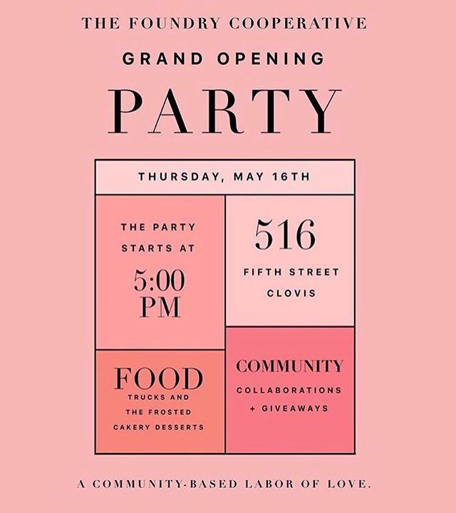 We're excited to be part of @thefoundrycoop Grand Opening Party! 🎉 Join us tomorrow at 5pm for an evening of fun, yummy food, & most importantly community.❣️ See you all out there tomorrow!! #thefoundrycoop #oldtownclovis #cometothetable #mattiespizza