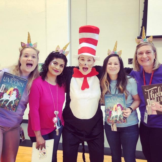 Principal Pleau as Cat in the Hat & Unicorn K Teachers